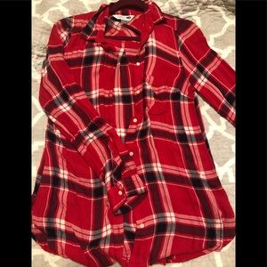 Red and black plaid top, soft, size Medium